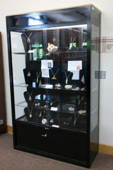 Macon County Library display case - upright